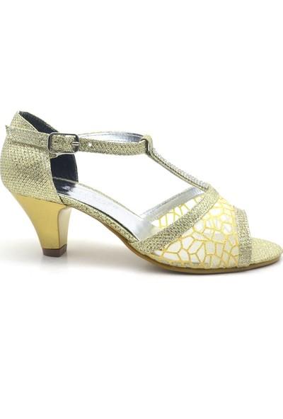 Sarıkaya Taşlı Altın Rengi Topuklu Kız Çocuk Abiye Ayakkabı