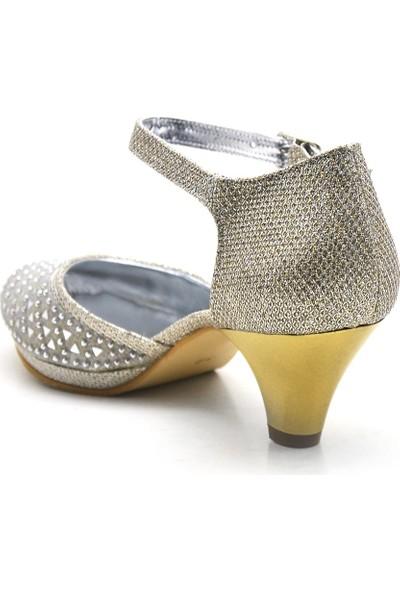 Sarıkaya Taşlı Altın Platform Topuklu Kız Çocuk Abiye Ayakkabı
