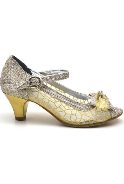 Sarıkaya Taşlı Fiyonklu Altın Rengi Topuklu Kız Çocuk Abiye Ayakkabı
