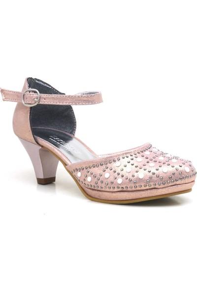 Sarıkaya İncili Pembe Platform Topuk Kız Çocuk Abiye Ayakkabı