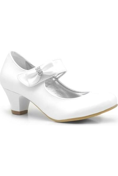 Sarıkaya Beyaz Rugan Topuklu Kız Çocuk Abiye Gelinlik Ayakkabı