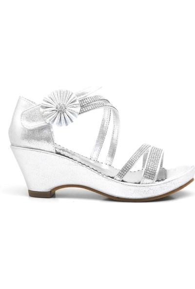 Sarıkaya Taşlı Dolgu Topuk Kız Çocuk Abiye Ayakkabı