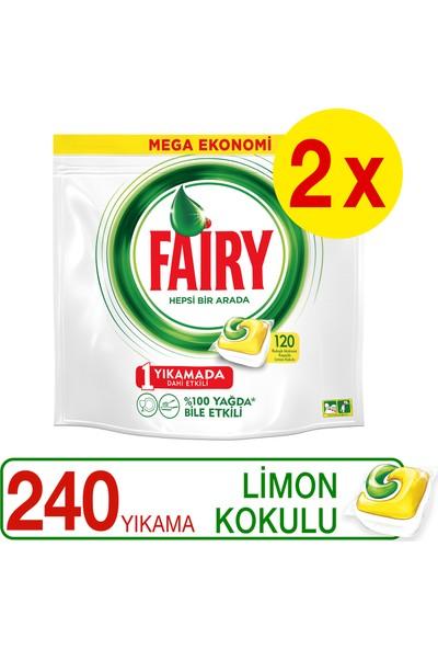 Fairy Hepsi Bir Arada Bulaşık Makinesi Deterjanı Kapsülü Limon Kokulu 120 x 2 Yıkama
