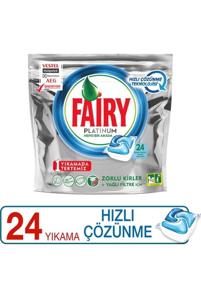 Fairy Platinum 24 Yıkama Bulaşık Makinesi Deterjanı Kapsülü Hızlı Çözünme