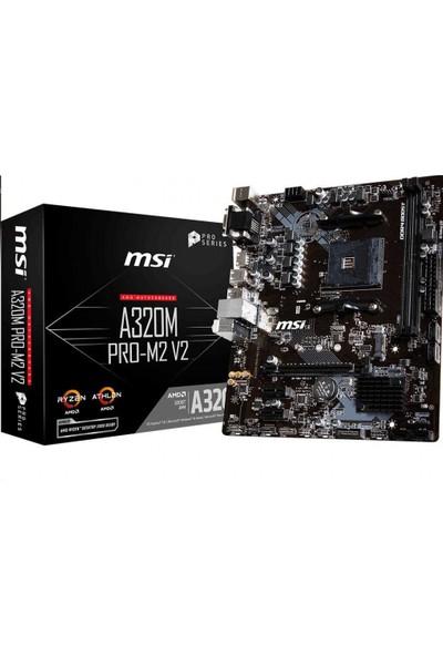 MSI A320M PRO-M2 V2 AM4 DDR4 3200(OC) DVI VGA HDMI M.2 USB3.1 mATX Anakart
