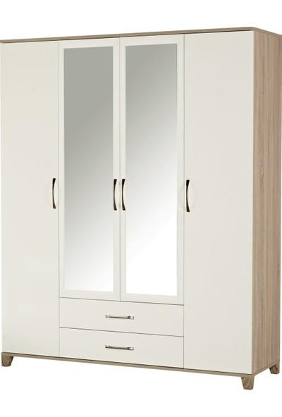 Ljv Mega Aynalı 4 Kapaklı 2 Çekmeceli Gardırop - Beyaz Erik