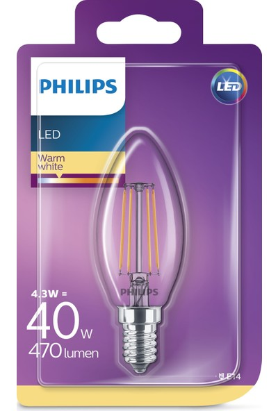 Philips LED Classic 40W B35 E14 Non-Dim 2700K Led Filament Ampul