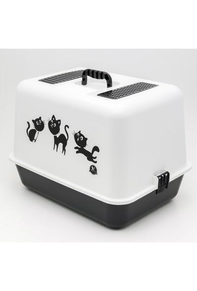 Petimister Kedi Kapalı Tuvalet Kabı 54,5 x 39,5 x 39 cm