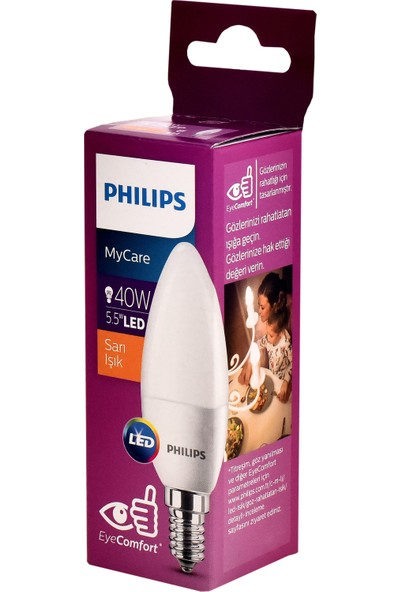 Philips LEDCandle 5.5 W (40 W) B35 E14 Sarı Işık Led Ampul