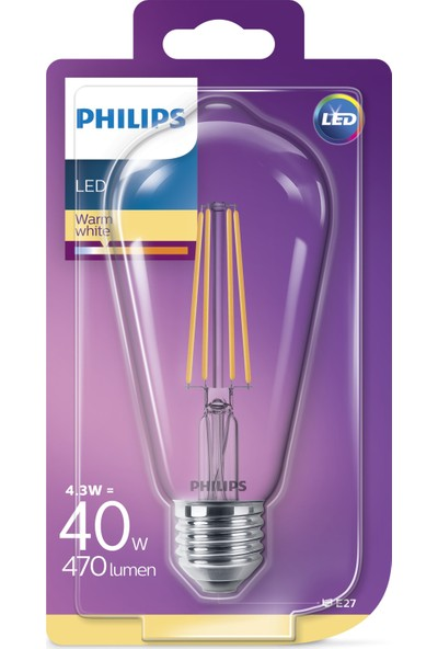 Philips LED Classic 40W ST64 E27 Non-Dim 2700K Led Filament Ampul