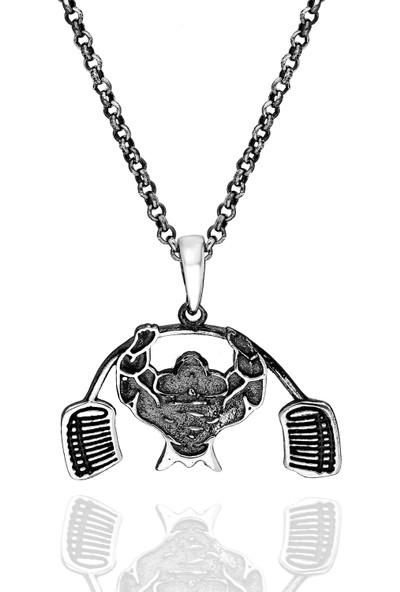 Chewel Gümüş Özel Tasarım Halterci Erkek Kolye