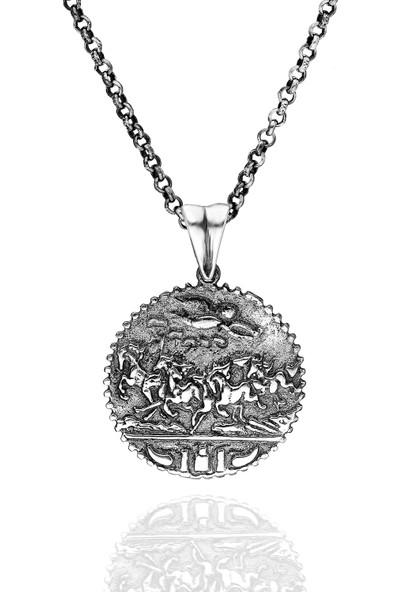 Chewel Gümüş Özel Tasarım Yunan Erkek Madalyon Kolye