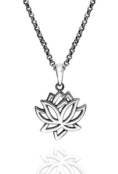 Chewel Gümüş Lotus Çiçeği Erkek Kolye