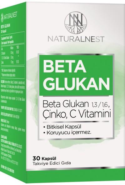 NaturalNest 1,3/1,6 Beta Glukan Çinko Vitamin C İçeren Takviye Edici Gıda 30 Kapsül