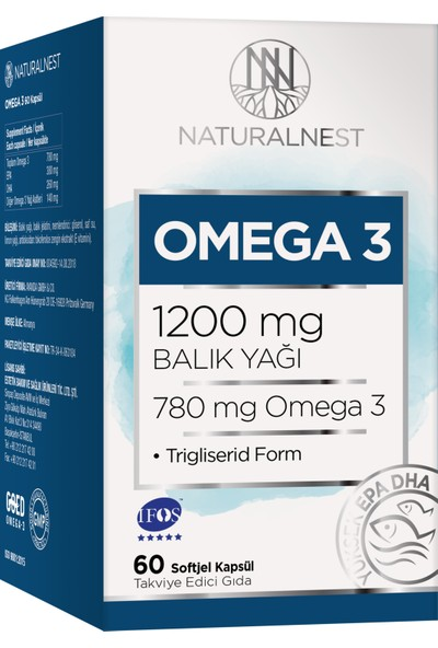 NaturalNest Omega 3 Balık Yağı 1200 mg 60 Kapsül