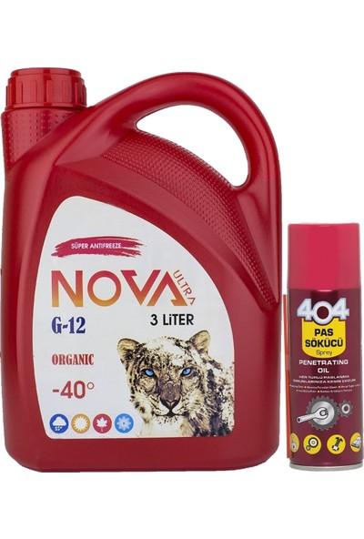 Nova ULTRA -40 Derece Organik Kırmızı Antifriz 3 lt Ve Pas Sökücü Sprey