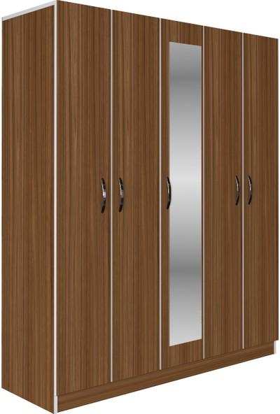 Kenzlife gardırop 5 kapaklı kapılı 150 lilyum cvz aynalı gardolap dolap