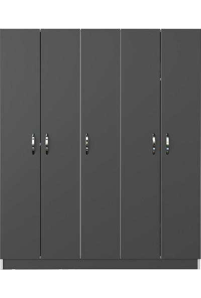 Kenzlife gardırop 5 kapaklı kapılı 200 lilyum gri gardolap dolap