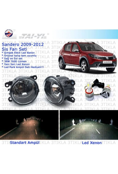 Dacia Sandero 2009-2012 Beyaz Led Xenon Sis Farı Seti