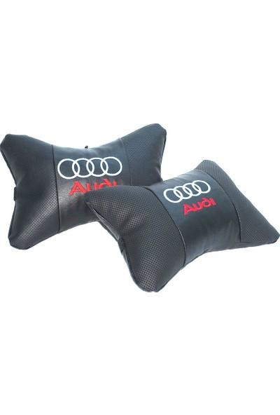 Audi Logolu Lüx Boyun Yastığı Çift Suni Deri
