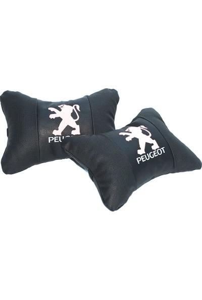 Peugeot Logolu Lüx Boyun Yastığı Çift Suni Deri
