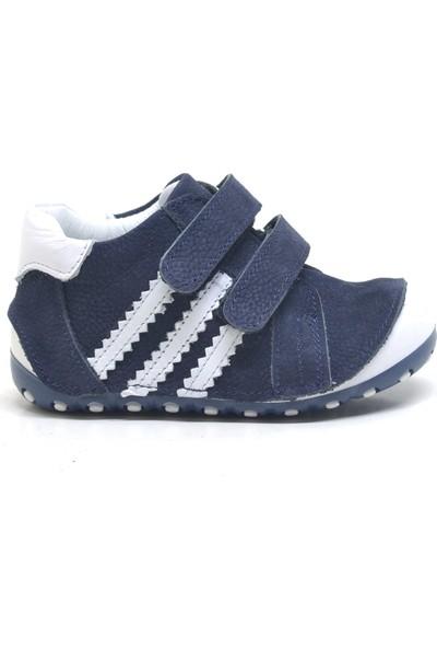 Nino Lacivert Hakiki Deri İlk Adım Bebek Ayakkabısı
