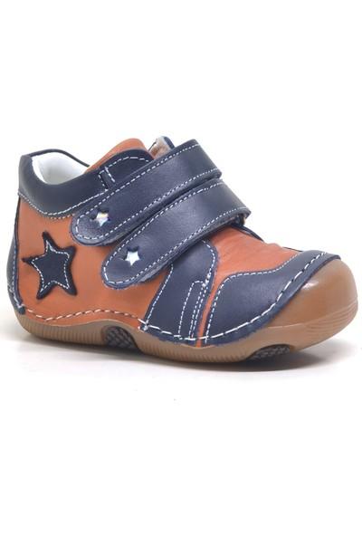 One Sweety Baby Lacivert Hakiki Deri Ortopedik Mevsimlik Erkek Bebek Ayakkabı