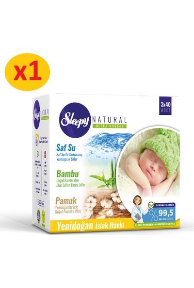 Sleepy Natural Yenidoğan Islak Pamuklu Bambu Havlu 3x40 (120 Yaprak)