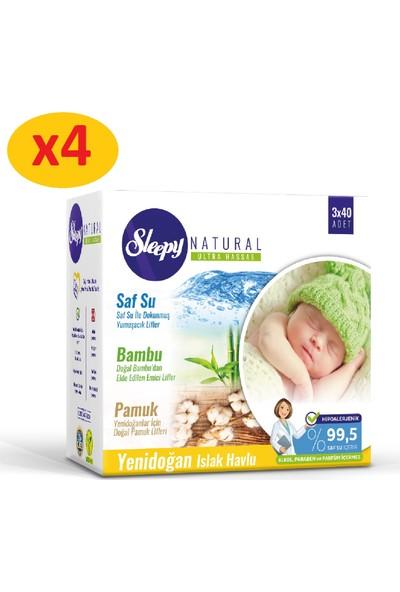 Sleepy Natural Yenidoğan Islak Pamuklu Bambu Havlu 4x(3x40) (480 Yaprak)