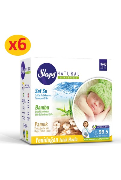 Sleepy Natural Yenidoğan Islak Pamuklu Bambu Havlu 18x40 (720 Yaprak)