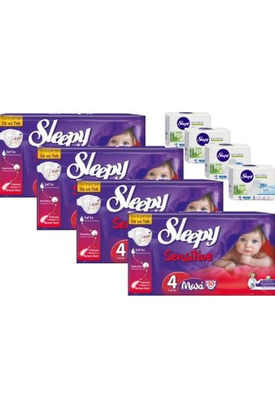 Sleepy Sensitive Bebek Bezi 4 Beden Maxi Jumbo Paket + Hijyenik Ped 30x4 (120 Adet)