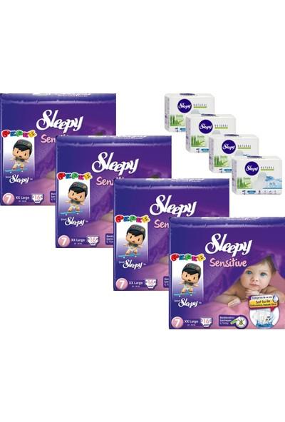Sleepy Sensitive Bebek Bezi 7 Beden XXL Jumbo Paket + Hijyenik Ped 16x4 (64 Adet)