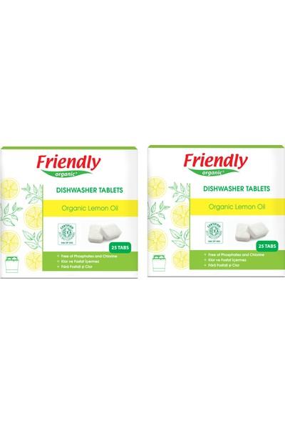 Friendly Organic Bulaşık Makinesi Tablet Deterjanı-Limon Yağı Özlü 25'li - 2 li set