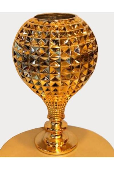 Hd Marketim Dekoratif Cam Vazo (Altın Renkli)