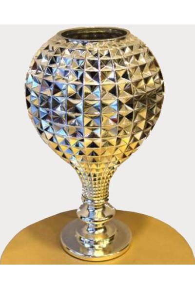 Happy Peyzaj Dekoratif Cam Vazo (Gümüş Renkli)