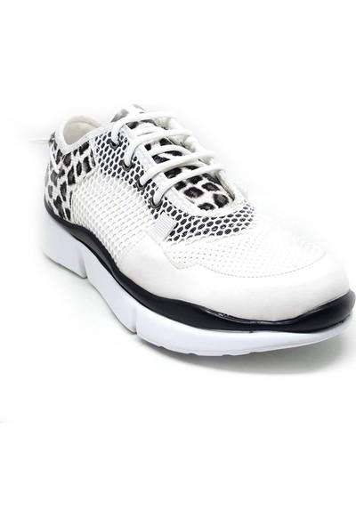 Shop And Shoes 173-11745 Kadın Ayakkabı Beyaz Leopar