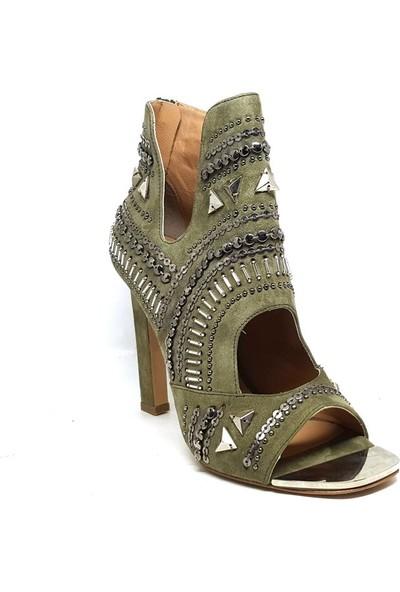 Shop And Shoes 104-166808 Kadın Ayakkabı Yeşil Süet
