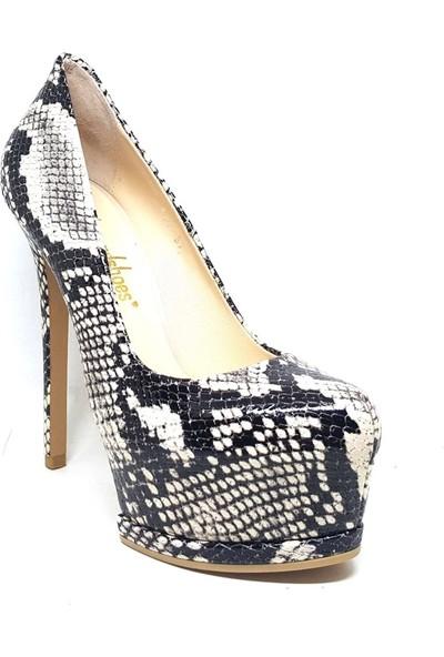 Shop And Shoes 005-210-7 Kadın Ayakkabı Bej Yılan