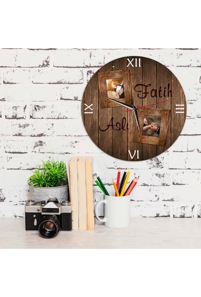 Phi Ahşap Görünümlü Sevgiliye Hediyelik Duvar Saati