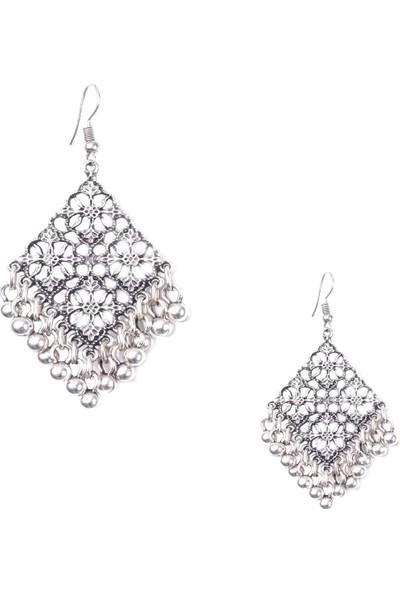 Labalaba Kadın Antik Gümüş Top Uçlu Geometrik Küpe