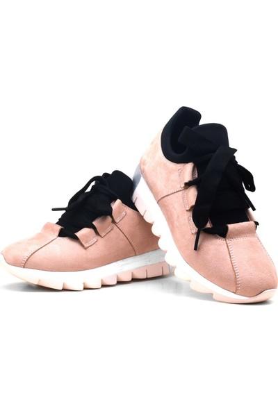Alya Pembe Süet Casual Streç Günlük Kadın Sneaker