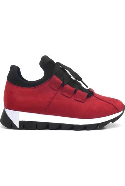 Alya Kırmızı Süet Casual Streç Günlük Kadın Sneaker