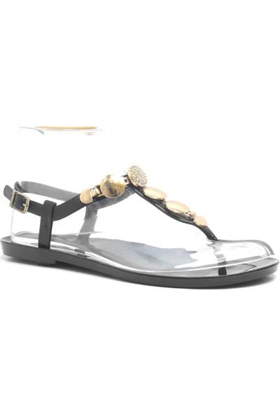 Ahs Collection Siyah ve Beyaz Taşlı Kadın Plaj Deniz Terliği Sandaleti