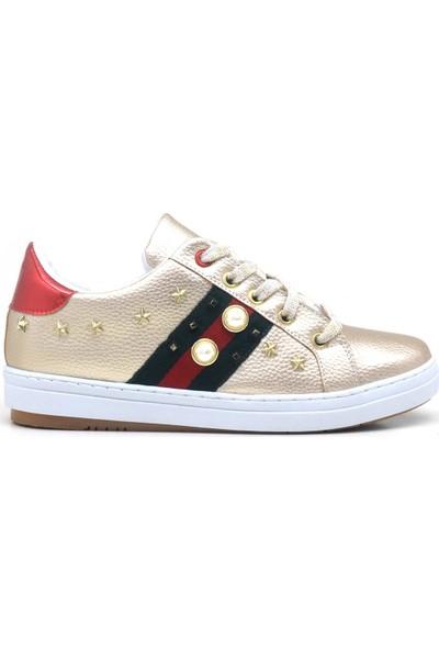 Raym Beyaz İnci Detaylı Yüksek Taban Casual Sneaker