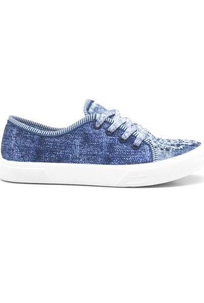 Shoenex Mavi Taşlı Bağcıklı Keten Günlük Bez Kadın Ayakkabı