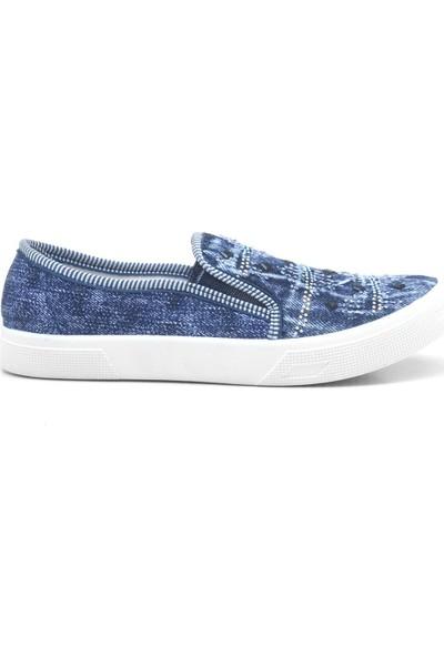 Shoenex Mavi Taşlı Lastikli Keten Günlük Bez Ayakkabı