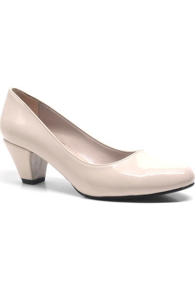Valencin Pudra Büyük Numara Topuklu Kadın Ayakkabı
