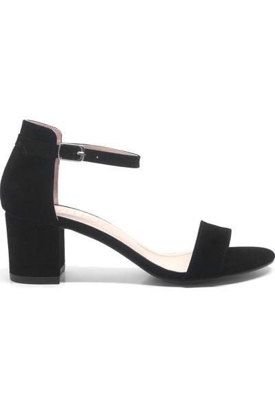 Allina Tek Bant Süet Kalın Topuk Kadın Ayakkabı