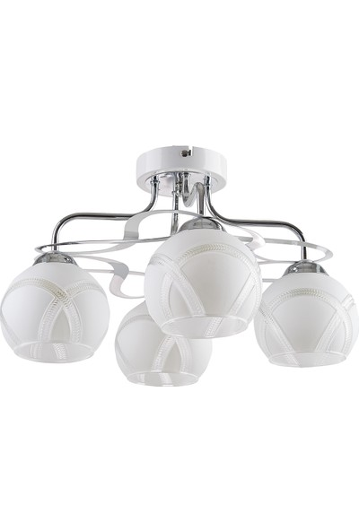 Light Home Dekoratif 4Lü Krom Camlı Avize