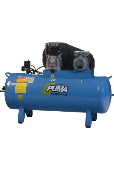 Puma İtalyan Abac Kafalı 200 Litre 3 Hp 8 Bar Pistonlu Kompresör